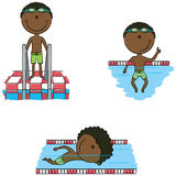 Cute vector African-American swimmer boys in different sport sit Stock Photo