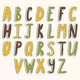 Cute vector alphabet. Cartoon alphabet design. Stock Image