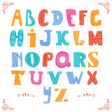 Cute vector alphabet  on white background. Hand drawn le Royalty Free Stock Photography