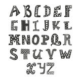 Cute vector alphabet  on white background. Hand drawn le. Tters. Vector illustration Royalty Free Stock Photo
