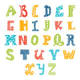 Cute vector alphabet  on white background. Letters Royalty Free Stock Photography