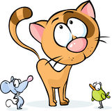 Cute vector animal - cat, mouse and bird cartoon Royalty Free Stock Photography