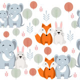Cute vector animal seamless pattern with elephant, fox, rabbit Royalty Free Stock Image