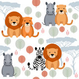 Cute vector animal seamless pattern with lion, rhino, zebra Royalty Free Stock Photos