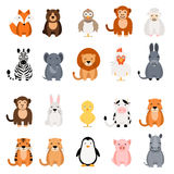 Cute vector animal set on white background.  Royalty Free Stock Image
