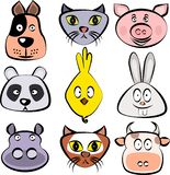 Cute animals set. Dog, cat, pig, panda bear, chick, bunny rabbit, hippopotamus, fox, cow faces. Vector template ready for p vector illustration