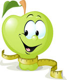 Cute vector apple smiling with tape measure - vector illustration  Stock Images