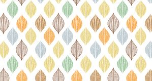 Cute vector autumn leaf pattern. Abstract banner print with leaves. Elegant beautiful nature ornament for fabric. Cute vector leaf pattern. Abstract banner print stock illustration