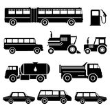 Cute vector baby background with black car icons. Cartoon children pattern. Stock Images