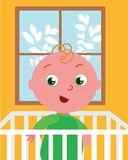 Cute vector baby in bed royalty free illustration