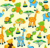 Cute vector baby seamless background. Cartoon children pattern. Royalty Free Stock Images