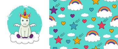 Cute vector baby unicorn illustration and seamless pattern.  stock illustration