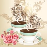 Cute vector background with cups of tea Royalty Free Stock Photo
