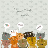 Cute vector background with funny kitties Stock Photography