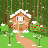 Cute Vector Background with Holiday Gingerbread House and Snow. Cute Vector Background with Holiday Gingerbread House, Snow and Forest Stock Photo