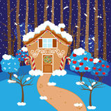 Cute Vector Background with Holiday Gingerbread House and Snow Royalty Free Stock Image