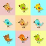 Cute vector birds set in flat style Stock Photos