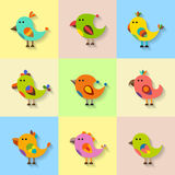 Cute vector birds set in flat style Stock Photo