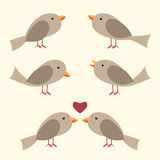 Cute vector birds set. Perched, singing, couple with heart. Flat style. EPS 10 vector illustration, no transparency Royalty Free Stock Photo