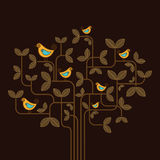 Cute vector birds on a tree Stock Photos