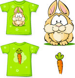 Cute vector bunny printed on shirt Stock Photography