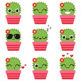 Cute vector cactus in pink pot. Cute vector cactus with flower in pink pot. Emoticons and emojis set royalty free illustration