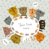 Cute vector card with funny kitties Stock Images