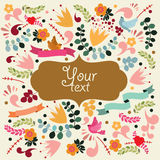 Cute vector card with label. Stock Image