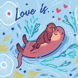 Cute vector card with mother and child otters. Vector illustration vector illustration