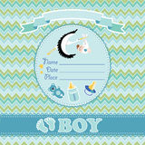 Cute vector card.Newborn boy baby shower Royalty Free Stock Photo