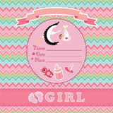 Cute vector card.Newborn girl baby shower Royalty Free Stock Image