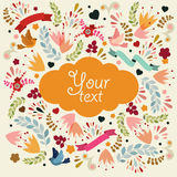 Cute vector card with orange label. Royalty Free Stock Photos