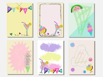 Cute vector card set of ice creams and sweets. Vintage cards with patterns and ornaments. Hand drawn card set for menus, brochures. Summer set and template Royalty Free Stock Images
