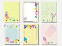 Cute vector card set of ice creams and sweets. Vintage cards with patterns and ornaments. Hand drawn card set for menus, brochures. Summer set and template Royalty Free Stock Image