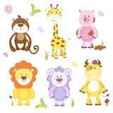 Cute vector cartoon animal set. With both wildlife and farm animals including a sheep  cow  pig  monkey  giraffe and lion suitable for kids  isolated on white Stock Images
