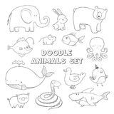 Cute vector cartoon doodle animals. Lovely sketch collection. Royalty Free Stock Images