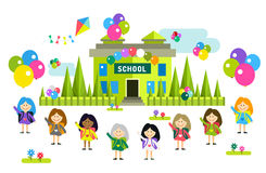 Cute vector cartoon girls from different countries. Playing near school building. School uniform, university building, education, school kids, teens. Welcome to Royalty Free Stock Photography