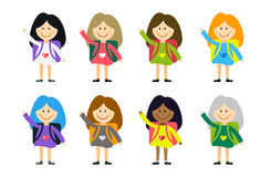 Cute vector cartoon girls from different countries. Playing on white. School uniform, university building, education, school kids, teens. Welcome to school Royalty Free Stock Image