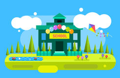 Cute vector cartoon school building illustration Stock Photography