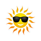Cute vector cartoon summer sun icon Royalty Free Stock Images