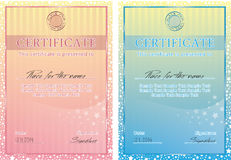 Cute vector certificate poster Royalty Free Stock Images