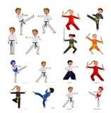 Cartoon kid wearing kimono, martial art kimono. Cute vector character kid Shaolin monk. Illustration for martial art kung fu poster. Kid wearing kimono and stock illustration