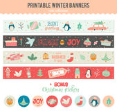 Cute Vector Christmas Cards And Stickers Royalty Free Stock Image