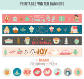 Cute Vector Christmas Cards And Stickers Stock Photography
