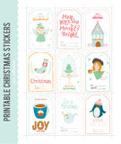 Cute Vector Christmas Cards And Stickers Royalty Free Stock Photography