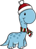Cute Vector Christmas Dinosaur Stock Image
