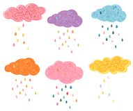 Cute vector clouds with colorful raindrops. Textured artistic designs for children fashion and greeting cards Royalty Free Stock Images
