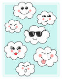 Cute vector clouds icons. Clouds cute emoji, emoticons faces set. Funny happy smiley clouds for your design. Royalty Free Stock Photo