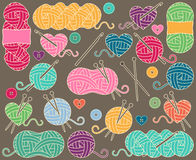 Cute Vector Collection of Balls of Yarn, Skeins of Yarn or Thread Royalty Free Stock Photo