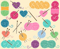 Cute Vector Collection of Balls of Yarn, Skeins of Yarn or Thread Royalty Free Stock Photos